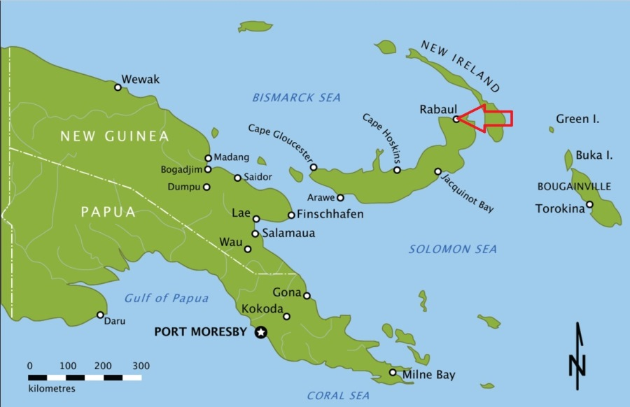 Map showing Rabaul