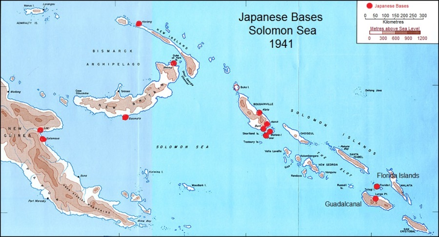 Japanese Bases Solomon Sea 1941